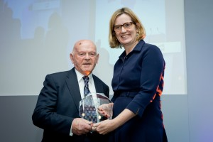 Ben Helfgott and Home Secretary Amber Rudd