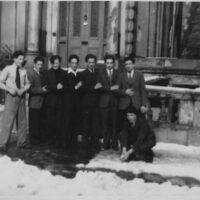 Belsize Park. Issac Pomerance (left) and Gerson Frydman (5th from left). Photo courtesy of the Frydman family.
