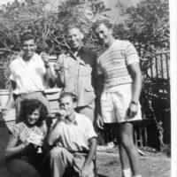 L-R,back row_ David Herman, Michael Silberstein, Roman Halter. Front_ Edith Buxbaum & Paul Gast. 1947.