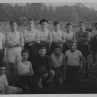 Second to left standing, Gerson Frydman.  Man with no shirt is Jock Lawrence, the coach.  Windermere 1945.